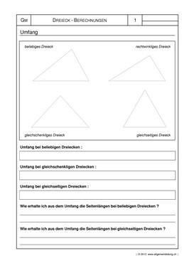 mathematik geometrie arbeitsblatt umfang von dreiecken 8500 bungen arbeitsbl tter. Black Bedroom Furniture Sets. Home Design Ideas