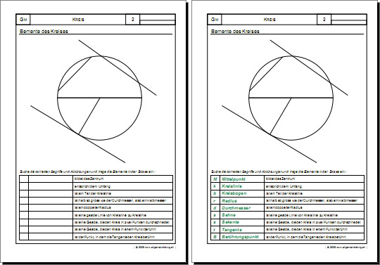 mathematik geometrie arbeitsblatt kreis elemente 8500 bungen arbeitsbl tter r tsel. Black Bedroom Furniture Sets. Home Design Ideas