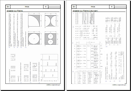 mathematik geometrie arbeitsblatt kreis 06 aufgaben zur fl che 8500 bungen. Black Bedroom Furniture Sets. Home Design Ideas
