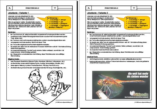 Allerlei | Arbeitsblatt Jokertexte | 8500 Übungen, Arbeitsblätter ...