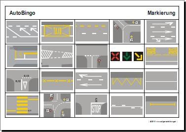 Allerlei | Arbeitsblatt Auto-Bingo Strasse-Markierung | 8500 Übungen ...