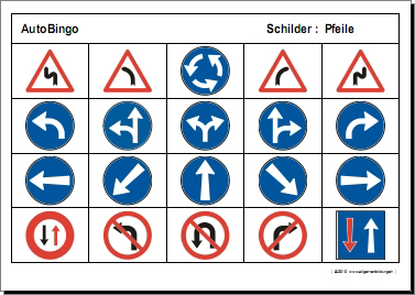 Allerlei | Arbeitsblatt Auto-Bingo Pfeile-Schilder | 8500 Übungen ...