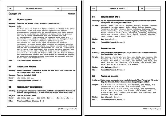 Arbeitsblatt Nomen Plural : Deutsch arbeitsblatt nomen artikel Übungen