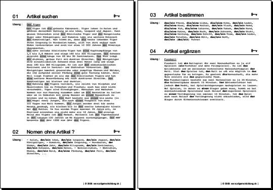 Deutsch | Arbeitsblatt Nomen & Artikel | 8500 Übungen ...