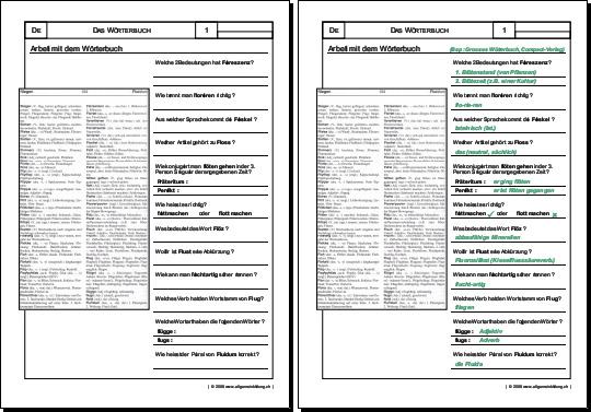 Deutsch | Arbeitsblatt Arbeit mit dem Wörterbuch | 8500 Übungen ...