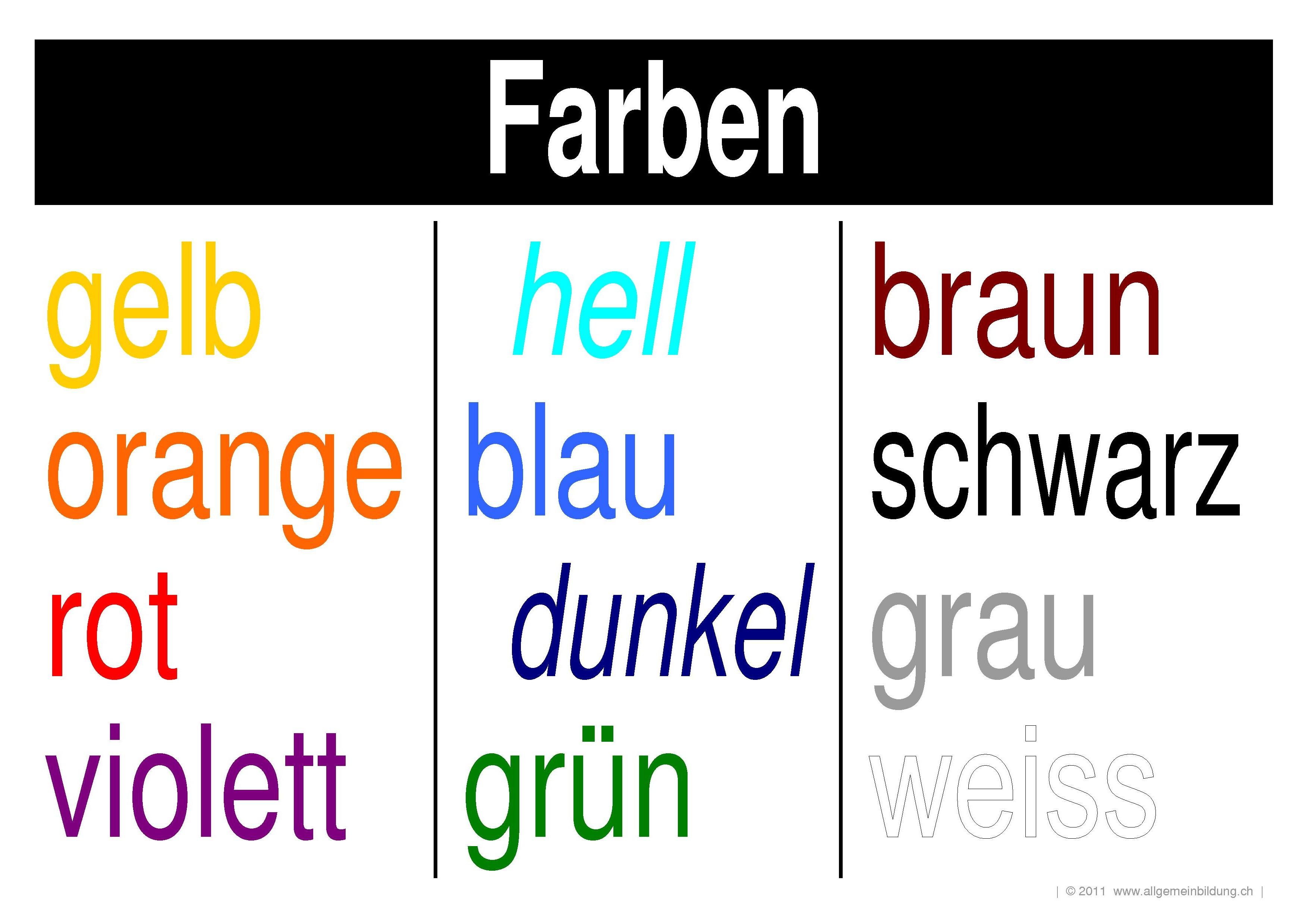 Deutsch | LernPlakate Wissensposter Farben | 8500 Übungen ...