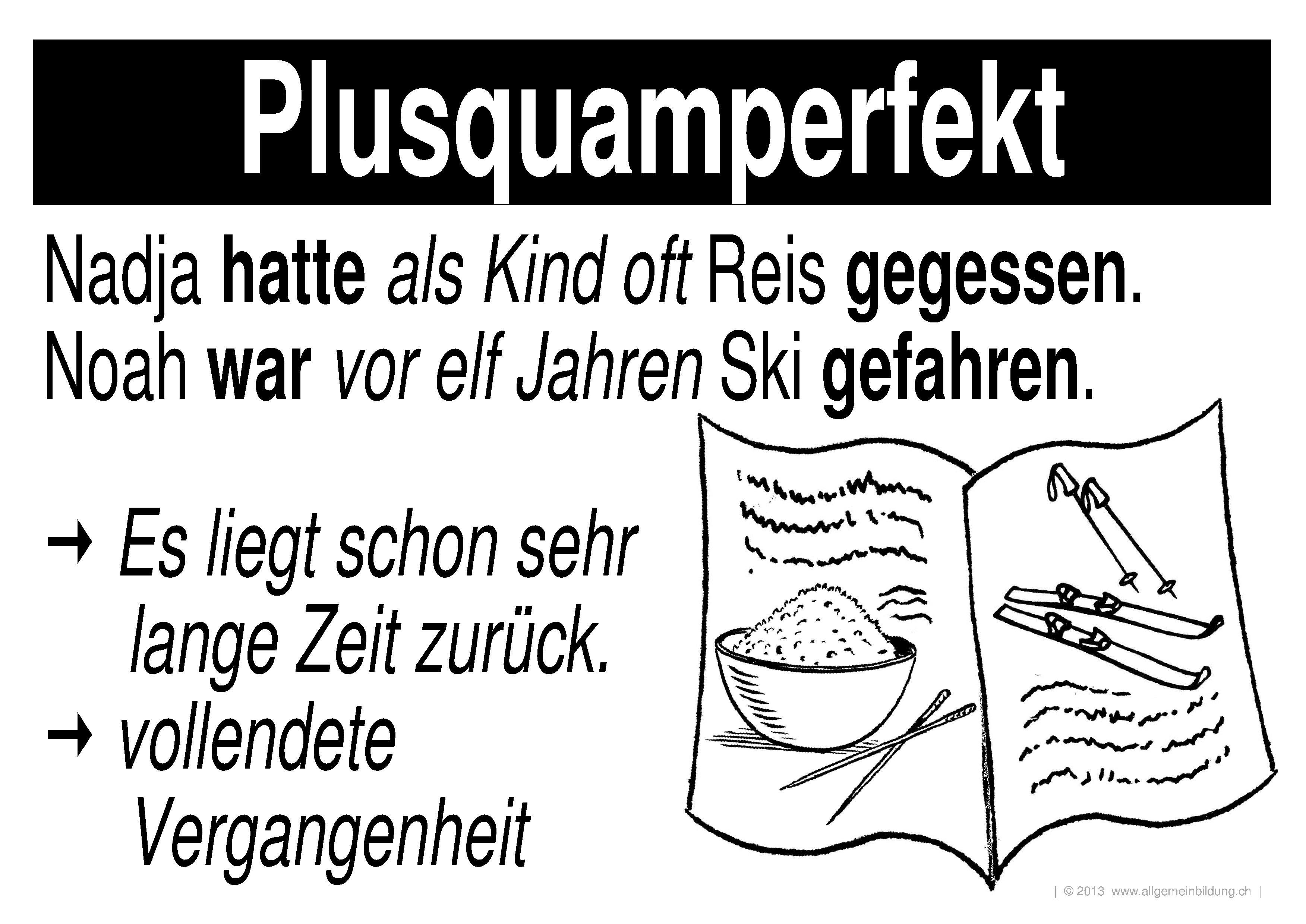 Ungewöhnlich Arbeitsblatt Für Plusquamperfekt Angespannt Galerie ...