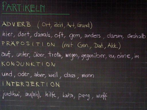 Deutsch | Tafelbilder Partikeln Grammatik | 4000 Übungen ...