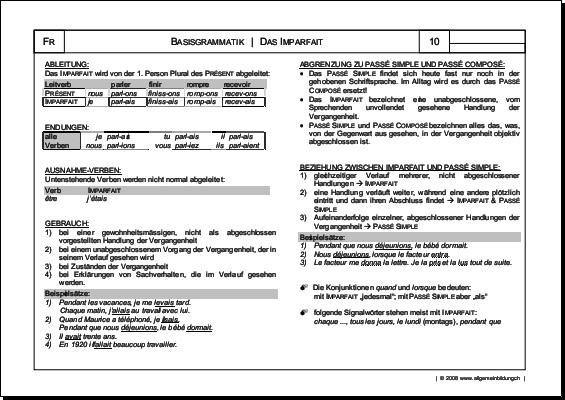 Französisch | Arbeitsblatt Imparfait Grammatik | 8500 Übungen ...