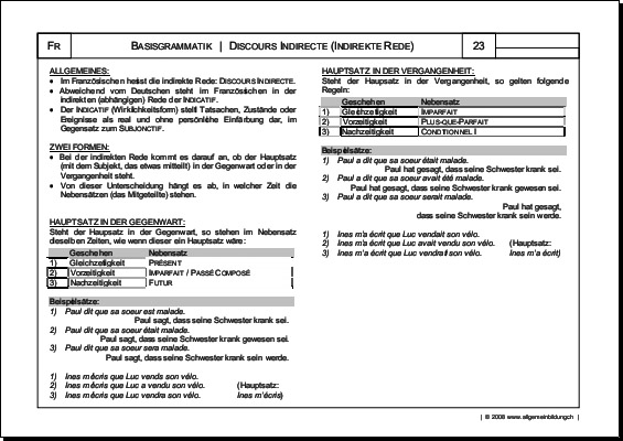 Französisch | Arbeitsblatt Discours Indirecte Grammatik | 8500 ...
