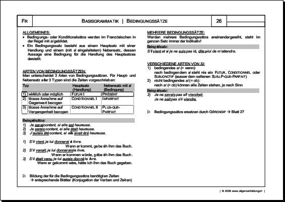 Französisch | Arbeitsblatt Bedingungssätze Grammatik | 8500 Übungen ...