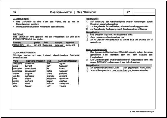 Französisch | Arbeitsblatt Gérondif Grammatik | 8500 Übungen ...