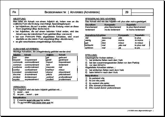 Französisch | Arbeitsblatt Adverbes Adverbien Grammatik | 8500 ...