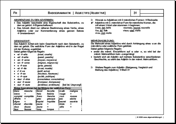 Französisch | Arbeitsblatt Adjectifs Adjektive Grammatik | 8500 ...
