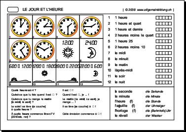Französisch | Arbeitsblatt Jour et Heure | 5000 Übungen, Rätsel ...