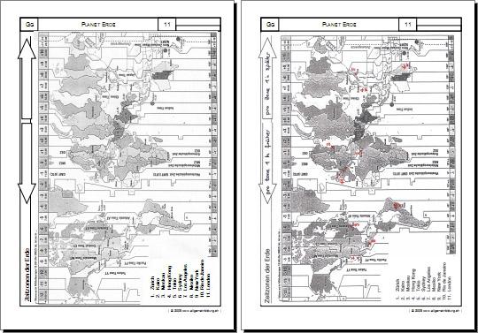Geografie | Planet Erde - Zeitzonen der Welt | 8500 Übungen ...