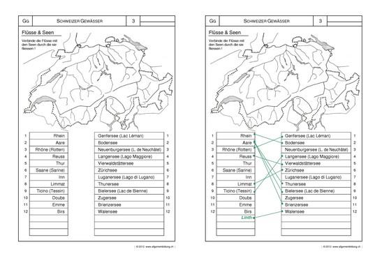 Geografie | Arbeitsblatt Schweizer Gewässer Lernwege Flüsse & Seen ...