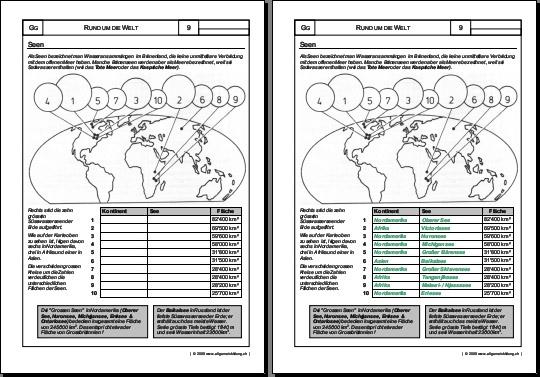 Geografie | Welt, Seen | 8500 Übungen, Arbeitsblätter, Rätsel, Quiz ...
