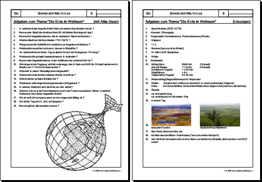 Geografie | Arbeitsblatt Planet Erde | 8500 Übungen, Arbeitsblätter ...