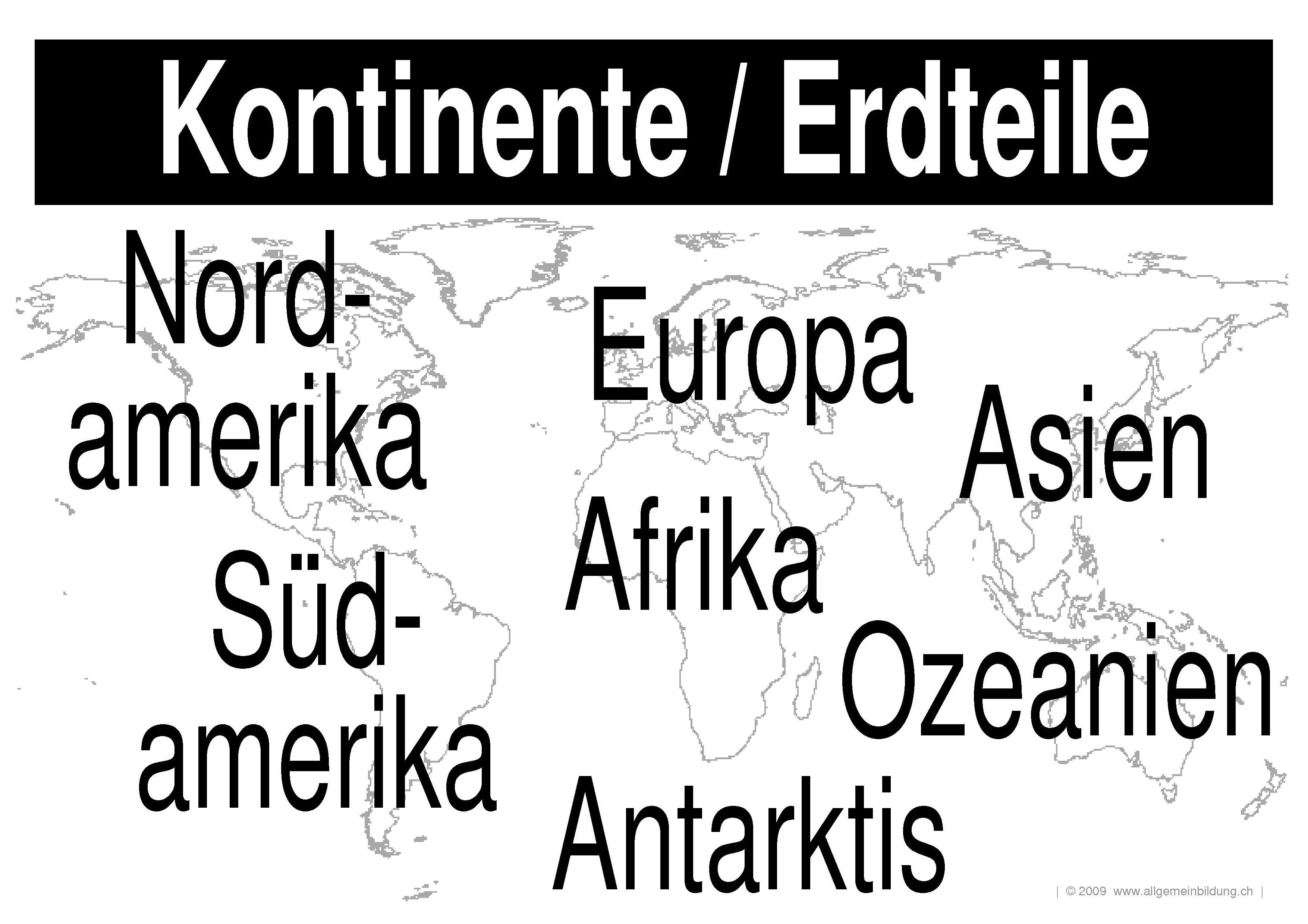 Geografie | LernPlakate WissensPoster Kontinente Erdteile | 8500 ...