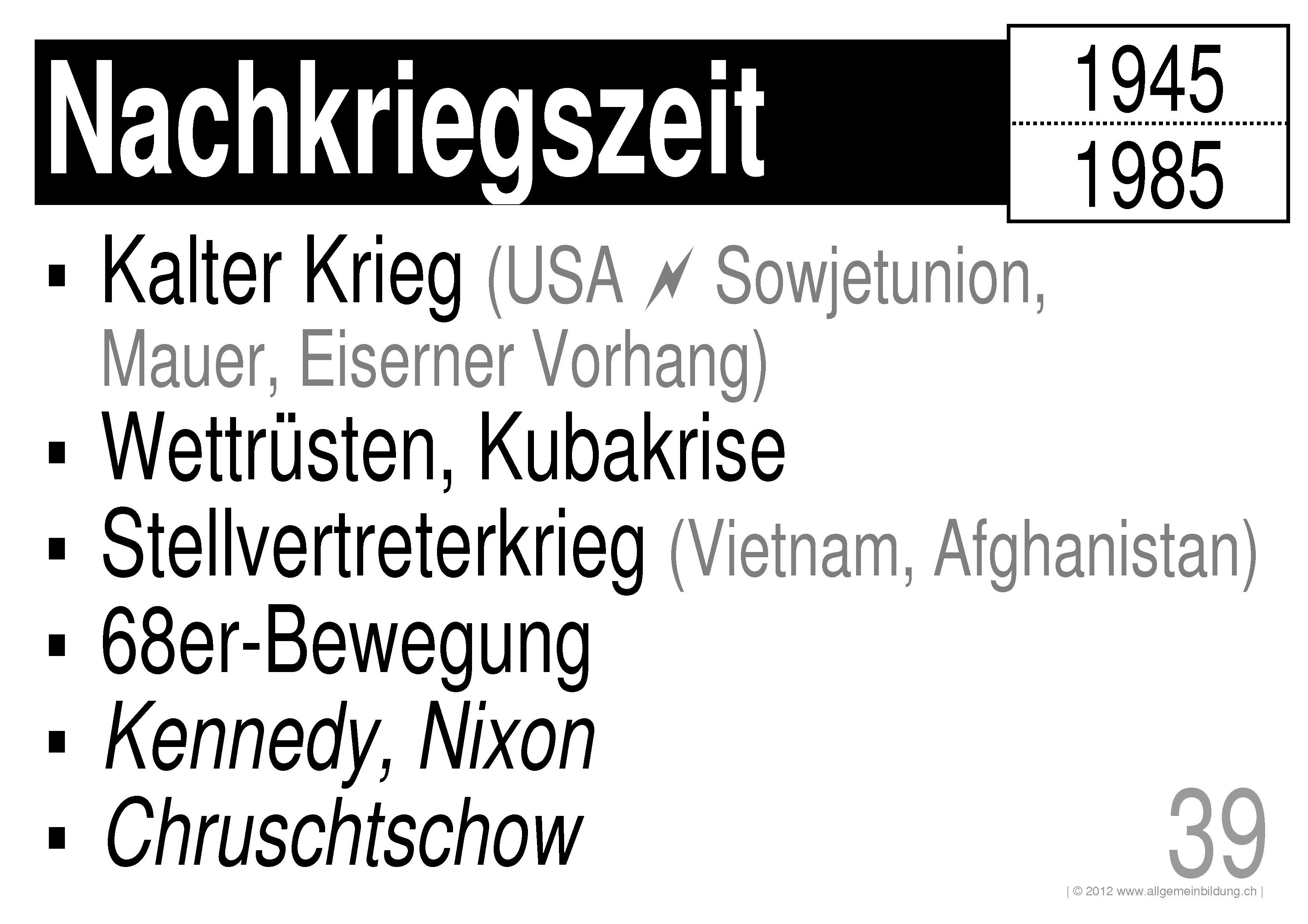 Geschichte & Politik | LernPlakate WissensPoster Nachkriegszeit ...