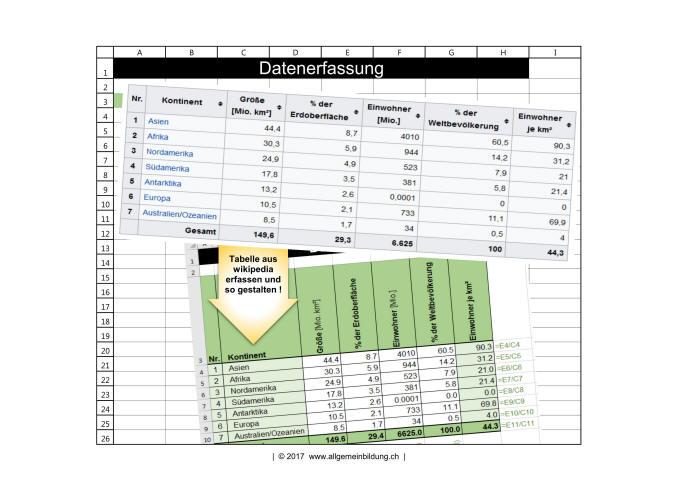 Informatik | Arbeitsblatt | Excel 2016 Übungen Datenerffassung ...