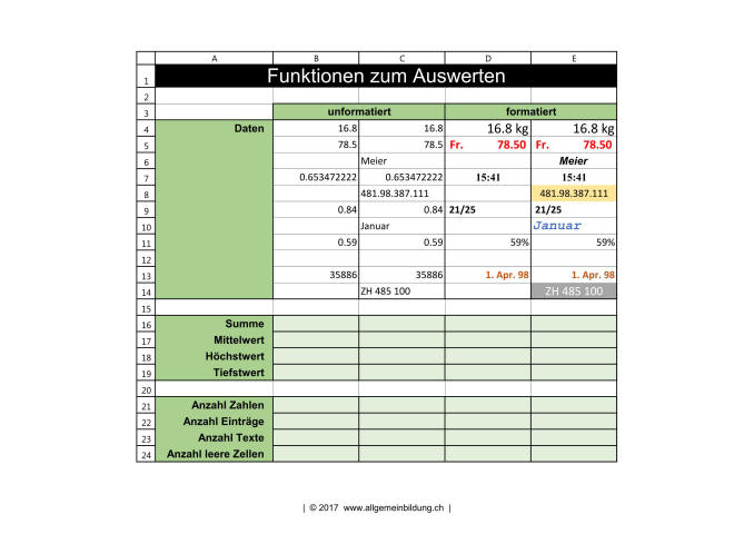 Informatik | Arbeitsblatt Excel 2016 Übungen Funktionen zum ...