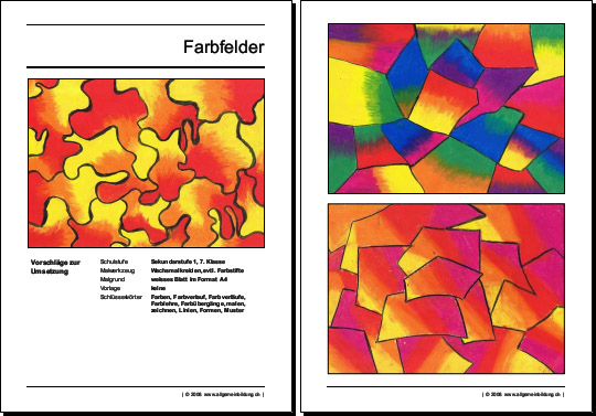 kunst kultur arbeitsblatt zeichenunterricht farbfelder. Black Bedroom Furniture Sets. Home Design Ideas