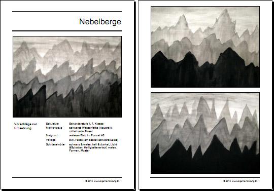 Kunst & Kultur | Arbeitsblatt Zeichnenunterricht Nebelberge | 8500 ...