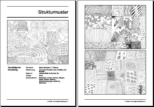 Kunst & Kultur | Arbeitsblatt Zeichnenunterricht Strukturmuster ...