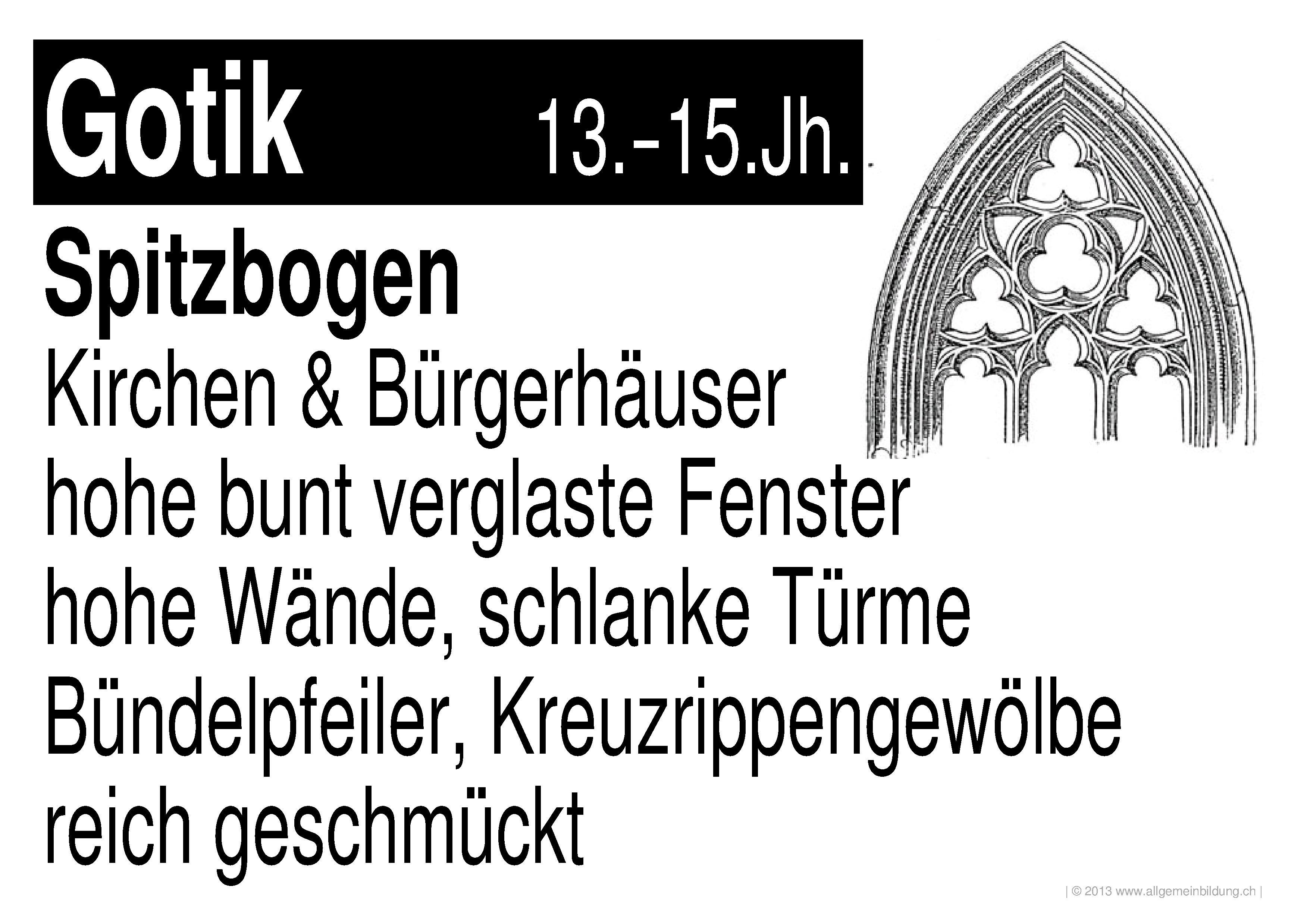 Kunst & Kultur | LernPlakate WissensPoster Merkmale der Gotik | 8500 ...