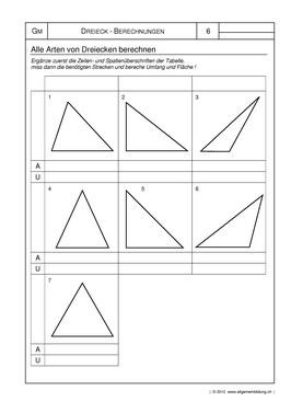 Mathematik & Geometrie | Arbeitsblatt Fläche & Umfang von Dreiecken ...