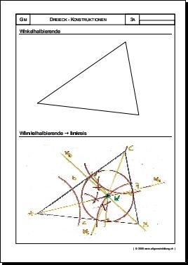 mathematik geometrie arbeitsblatt dreieck winkelhalbierende inkreis 8500 bungen. Black Bedroom Furniture Sets. Home Design Ideas