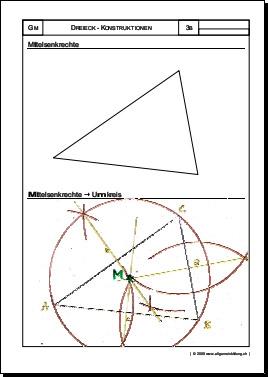 mathematik geometrie arbeitsblatt dreieck mittelsenkrechte umkreis 8500 bungen. Black Bedroom Furniture Sets. Home Design Ideas