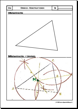 Mathematik & Geometrie | Arbeitsblatt Dreieck Mittelsenkrechte ...