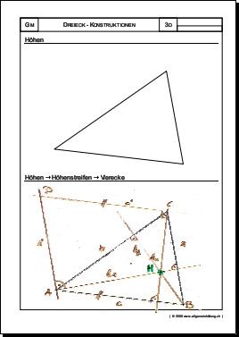 mathematik geometrie arbeitsblatt dreieck h henstreifen vierecke 8500 bungen. Black Bedroom Furniture Sets. Home Design Ideas