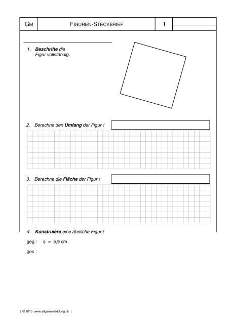 Mathematik & Geometrie | Arbeitsblatt Quadrat Figuren-Steckbrief ...
