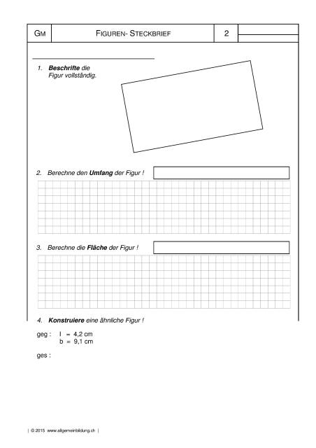 Mathematik & Geometrie | Arbeitsblatt Rechteck Figuren-Steckbrief ...