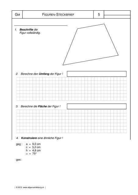 Mathematik & Geometrie | Arbeitsblatt Trapez Figuren-Steckbrief ...