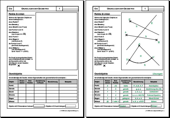 Mathematik & Geometrie | Arbeitsblatt Punkte + Linien | 8500 Übungen ...