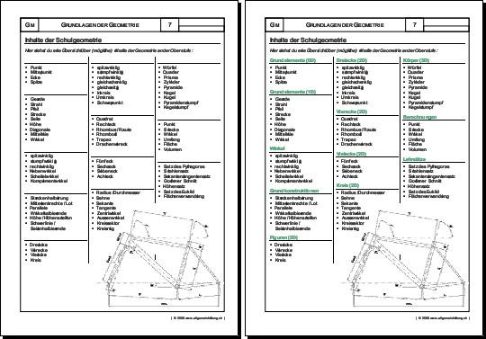 Mathematik & Geometrie | Arbeitsblatt Inhalte | 8500 Übungen ...