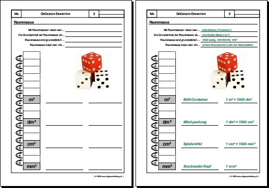 mathematik geometrie arbeitsblatt raummasse hohlmasse 8500 bungen arbeitsbl tter r tsel. Black Bedroom Furniture Sets. Home Design Ideas