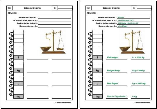 Mathematik & Geometrie | Arbeitsblatt Gewichte Massen | 8500 Übungen ...