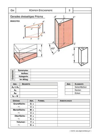 Mathematik & Geometrie | Arbeitsblatt Geometrische Körper | 8500 ...
