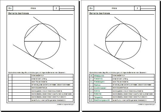 Mathematik & Geometrie | Arbeitsblatt Kreis-Elemente | 8500 Übungen ...