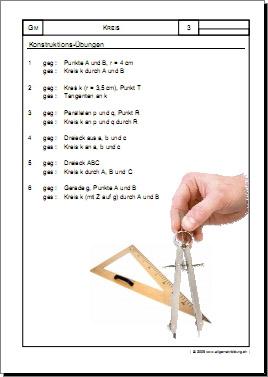 Mathematik & Geometrie | Arbeitsblatt Konstruktions-Übungen | 8500 ...