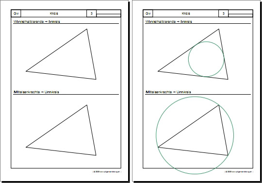 mathematik geometrie arbeitsblatt kreis inkreis umkreis 8500 bungen arbeitsbl tter. Black Bedroom Furniture Sets. Home Design Ideas