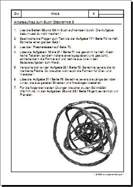 Mathematik & Geometrie | Arbeitsblatt Kreis Auftrag zum Buch | 8500 ...