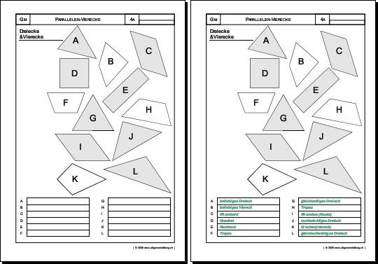 Mathematik & Geometrie | Arbeitsblatt Dreiecke Vierecke Quadrat ...