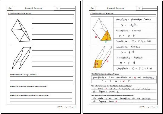 mathematik geometrie arbeitsblatt prisma zylinder. Black Bedroom Furniture Sets. Home Design Ideas